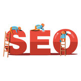 Design modern vector illustration concept of SEO word. Royalty Free Stock Photo