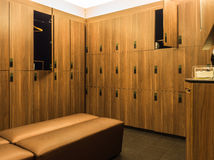Design of modern wooden lockers Royalty Free Stock Photography