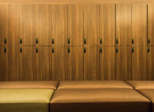 Design of modern wooden lockers Royalty Free Stock Photos