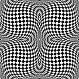 Design monochrome motion checkered background. Design monochrome motion illusion checkered background. Abstract torsion backdrop. Vector-art illustration Royalty Free Stock Photos
