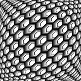 Design monochrome warped grid hexagon pattern Stock Photos