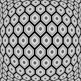 Design monochrome warped hexagon pattern Stock Image