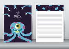 Design of monster cartoon with notepad,cards,poster,invitation cards Stock Photos