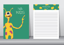 Design of monster cartoon with notepad,cards,poster Stock Photography