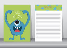 Design of monster cartoon with notepad,cards,poster Royalty Free Stock Images