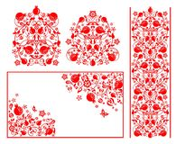 Red design for Moslem wedding greetings with abstract floral pattern with pomegranate