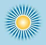 Sun and blue shine in the sky. Design motif with the theme of the sun and its rays with made of the appropriate dot pixel royalty free illustration