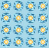 Blue sky and sun and shine pattern vector. Design motif with the theme of the sun and its rays with made of the appropriate dot pxel Stock Photography