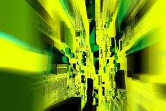 Design in-Motion. Abstract Dark Green Design with Some Square Objects in Motion. Horizontal Abstract Background Stock Photo