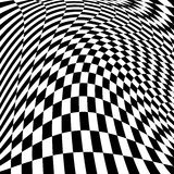 Design motion illusion checkered background. Design monochrome motion illusion checkered background. Abstract torsion backdrop. Vector-art illustration Stock Photo