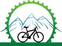 Design for mountain bikers. Design, badge for mountain bikers with green mechanic part circle as association for healthy life stock illustration