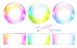 Design multicolored button set Stock Photo