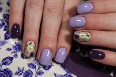 Design-Nägel Farben der Maniküre purpurrote stockbilder