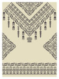 Design neckline, sleeves and border in ethnic style Royalty Free Stock Images
