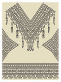 Design neckline, sleeves and border in ethnic style Stock Images