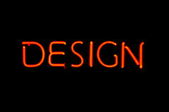 Design neon sign stock photography
