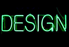 Design Neon Sign. Green neon sign with the word Design Royalty Free Stock Photography