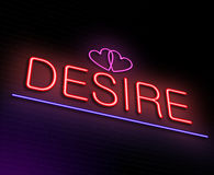 Design neon sign concept. Illustration depicting an illuminated neon sign with a desire concept Stock Photos