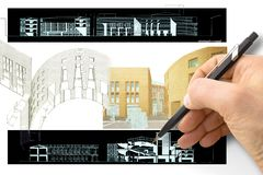 Design a new city - Hand drawing with a pencil a sketch of a new modern town an interiors - concept image - I`m the copyright. Owner of the draws used in this stock photos