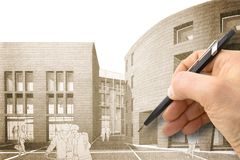 Design a new city - Hand drawing with a pencil a sketch of a new. Modern town an interiors - concept image - I `m the copyright owner of the draws used in this royalty free stock photo