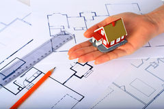 Design of new house. Royalty Free Stock Photography