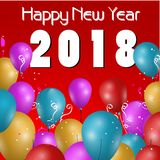 2018 happy new year card. Design for 2018 new year with balloons on red background Stock Photos
