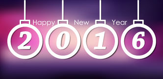 Design New Year banner on a blurred background. Design New Year banner with Christmas toys and the text within them in 2016 with a blurred pink background Royalty Free Stock Image