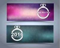 Design New Year banner on a blurred background. Design New Year banner with Christmas toys on a blurred background. Vector illustration. Set Stock Photos