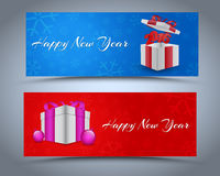 Design New Year banner. With boxes for gifts on the background of snowflakes. Vector illustration. Set Stock Images