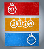 Design New Year banner. With Christmas toys on the background of snowflakes. Vector illustration. Set Royalty Free Stock Images