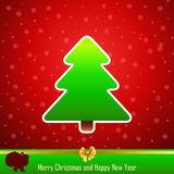 Design of New Year 2014 and Merry Christmas green. Tree with Santa Claus with bag Stock Illustration