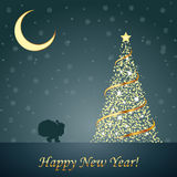 Design of New Year 2014 and Merry Christmas postca Stock Photos