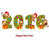Design new year 2016 with monkeys and Christmas tree Royalty Free Stock Photos