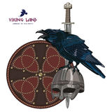 Design with Nordic sword, shield, Viking helmet and sitting on it Raven. Isolated on white, vector illustration, eps-10 Stock Photography