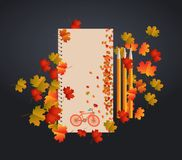 Vector design notebook card and autumn leaves. It can be used as invitation and greetings for Thanksgiving Royalty Free Stock Photography
