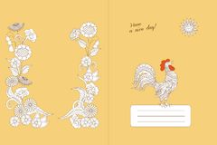 Design notebook with floral boho pattern and rooster royalty free illustration