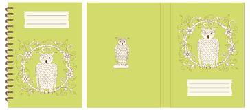 Design notebook with owl into floral frame. Set of two cover design with owl into floral frame for decorate notebook, sketchbook, copybook, album, diary, book royalty free illustration