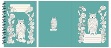 Design notebook with owl and flowers. Set of two cover design with owl into flowers for decorate notebook, sketchbook, copybook, album, diary, book. Cover A5 stock illustration
