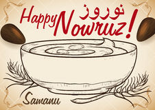 Design for Nowruz with Delicious Hand Drawn Samanu for Holidays, Vector Illustration Stock Photo