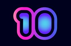 10 pink blue gradient number logo icon design. Design of number 10 pink blue gradient color suitable as a logo for a company or business stock illustration