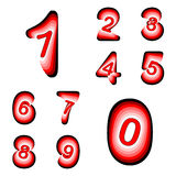 Design numbers set. Colorful waving line textured font Royalty Free Stock Photography