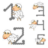 Design numbers set with funny cartoon sheep. Numbers from 1 to 5. Strip twisting lines textured font. Vector-art illustration Stock Photo