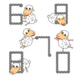 Design numbers set with funny cartoon sheep. Numbers from 6 to 0. Strip twisting lines textured font. Vector-art illustration Royalty Free Stock Image