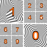 Design numbers set. Striped waving line textured f Royalty Free Stock Photos