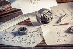 Design och genomförande av mekaniska delar royaltyfri bild