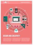 Design- och kreativitetaffisch stock illustrationer