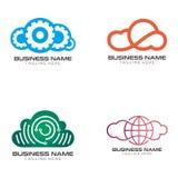 Design och symbol för molnlösningslogo vektor illustrationer