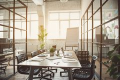 Design Of Office With Table And Laptops Stock Photography