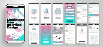 Free Design Of The Mobile Application, UI, UX. A Set Of GUI Screens With Login And Password Input, Home Page, News Feed Stock Photos - 137393823