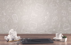 Free Design Office Desk With Drawings Background Royalty Free Stock Image - 95266996